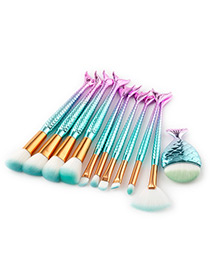 Lovely Purple+blue Fish Shape Decorated Brush (10pcs)