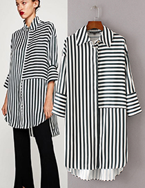 Fashion Black+white Color-matching Decorated Dress