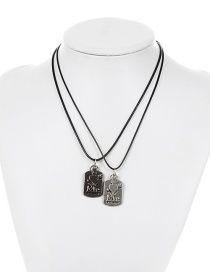 Personality Black Heart Shape Decorated Double Layer Necklace