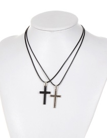 Personality Black Cross Decorated Double Layer Necklace