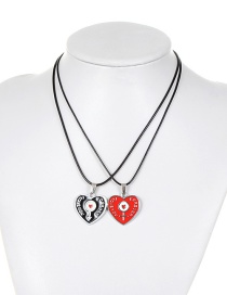 Personality Black Heart Decorated Double Layer Necklace