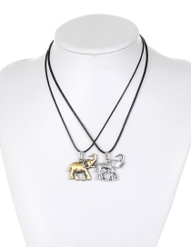 Personality Black Elephant Decorated Double Layer Necklace