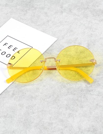 Retro Yellow Pure Color Decorated Sunglasses