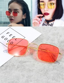 Vintage Red Square Shape Decorated Sunglasses