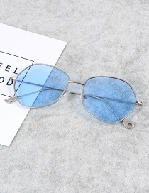 Fashion Light Blue Pure Color Decorated Thin Legs Sunglasses