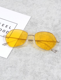 Fashion Yellow Pure Color Decorated Thin Legs Sunglasses