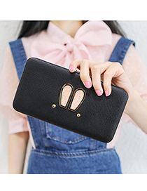 Lovely Black Rabbit Ears Shape Decorated Wallet