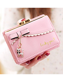 Elegant Pink Cat Pendant Decorated Coin Purse