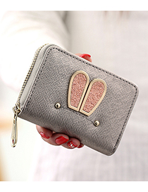 Elegant Silver Color Rabbit Ears Shape Decorated Wallet