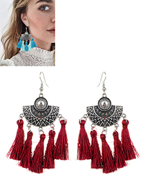 Bohemia Claret-red Fan Shape Decorated Tassel Earrings