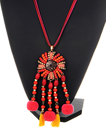 Exaggerated Red Fuzzy Ball Decorated Pom Necklace