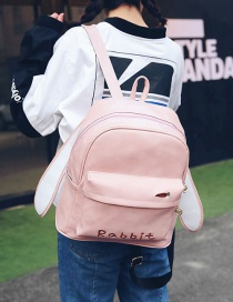 Fashion Pink Rabbit Ear Shape Decorated Backpack