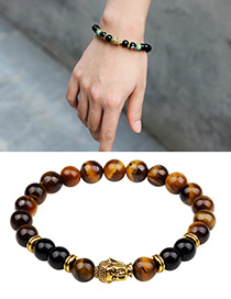 Fashion Brown+gold Color Buddha Head Decorated Bracelet