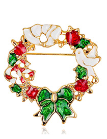 Fashion Gold Color+red+green Bowknot Shape Decorated Brooch