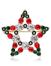 Fashion Gold Color+red+green Star Shape Decorated Brooch