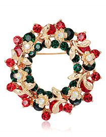Fashion Gold Color+red+green Flower Shape Decorated Brooch