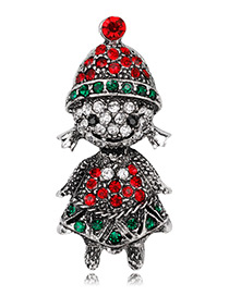 Fashion Antique Silver Girl Shape Decorated Brooch