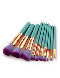 Fashion Purple+green Pure Color Decorated Makeup Brush ( 10 Pcs )