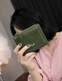 Fashion Green Pure Color Decorated Wallet
