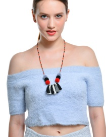 Fashion Multi-color Fuzzy Ball&tassel Decorated Long Pom Necklace