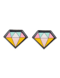 Fashion Black Geometric Shape Design Simple Earrings