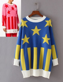 Fashion Blue Star Pattern Decorated Sweater