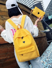 Fashion Yellow Heart Paattern Decorated Backpack (2 Pcs)