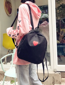 Fashion Black Heart Pattern Deocrated Backpack