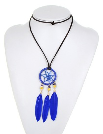 Fashion Sapphire Blue Pure Color Decorated Necklace