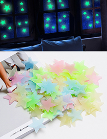 Fashion Multi-color Star Shape Decorated Wall Sticker (100 Pcs)