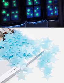 Fashion Blue Star Shape Decorated Wall Sticker (100 Pcs)
