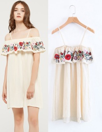 Fashion Beige Flower Decorated Off The Shoulder Shirt