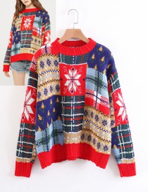 Fashion Multi-color Snowflower Pattern Decorated Sweater