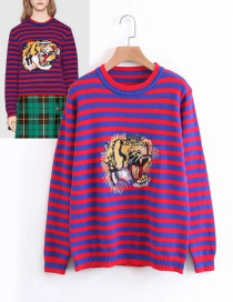 Fashion Purple Tiger Shape Decorated Sweater