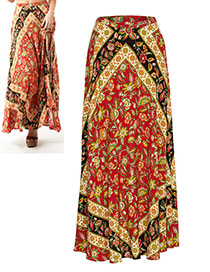 Fashion Red Flower Pattern Decorted Skirt