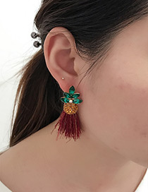 Fashion Claret Red Pineapple Shape Decorated Earrings