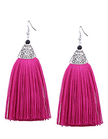 Vintage Plum Red Long Tassel Decorated Pure Color Earrings