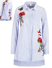 Vintage Blue+white Embroidery Flower Decorated Long Sleeves Blouse