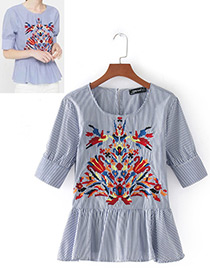 Fashion Blue+white Flower Pattern Decorated Short Sleeves Blouse