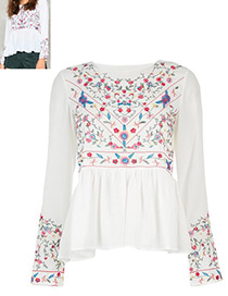 Fashion White Flower Pattern Decorated Round Neckline Blouse