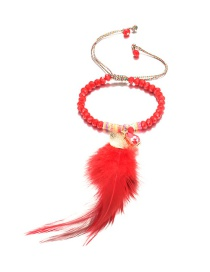 Fashion Red Feather Decorated Bracelet
