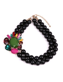 Fashion Black Bead Decorated Necklace