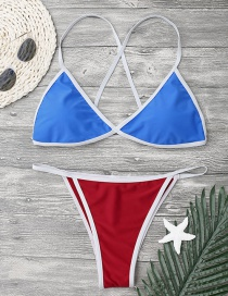 Fashion Red+blue Pure Color Decorated Bikini