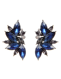 Fashion Navy Blue Oval Shape Decorated Earrings