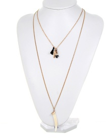Fashion Gold Color Tassel&arrow Decorated Double Layer Necklace