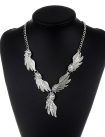 Fashion Silver Color Leaf Shape Decorated Pure Color Necklace