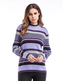 Trendy Purple Stripe Pattern Decorated Long Sleeves Sweater