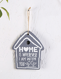Lovely Gray Letter Pattern Decorated House Shape Wall Ornaments