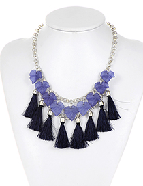 Fashion Dark Blue Leaf&tassel Decorated Simple Necklace