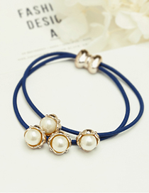 Fashion Navy Bowknot Decorated Double Layer Hair Band